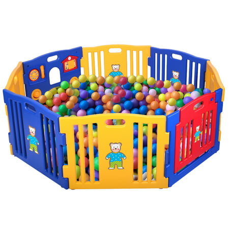 Play Area Pen - Jaxpety Baby Playpen 8 Panel Foldable High PE Frame Kids Play Center Yard Indoor Outdoor Playards