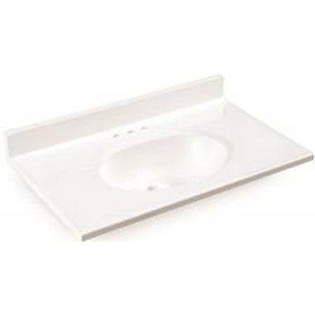 25 Cultured Marble (Premier Bathroom Vanity Top, Cultured Marble, White, 25 In. X19)