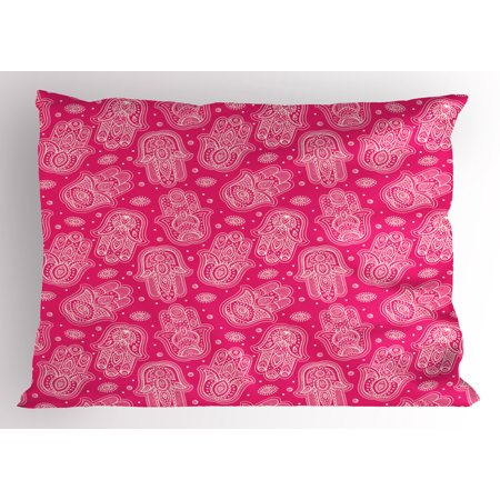 Hamsa Pillow Sham Ethnic Pattern With Eye And Hand Motifs Abstract