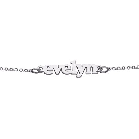 Personalized Women's Sterling Silver Lowercase Name Bracelet, 6