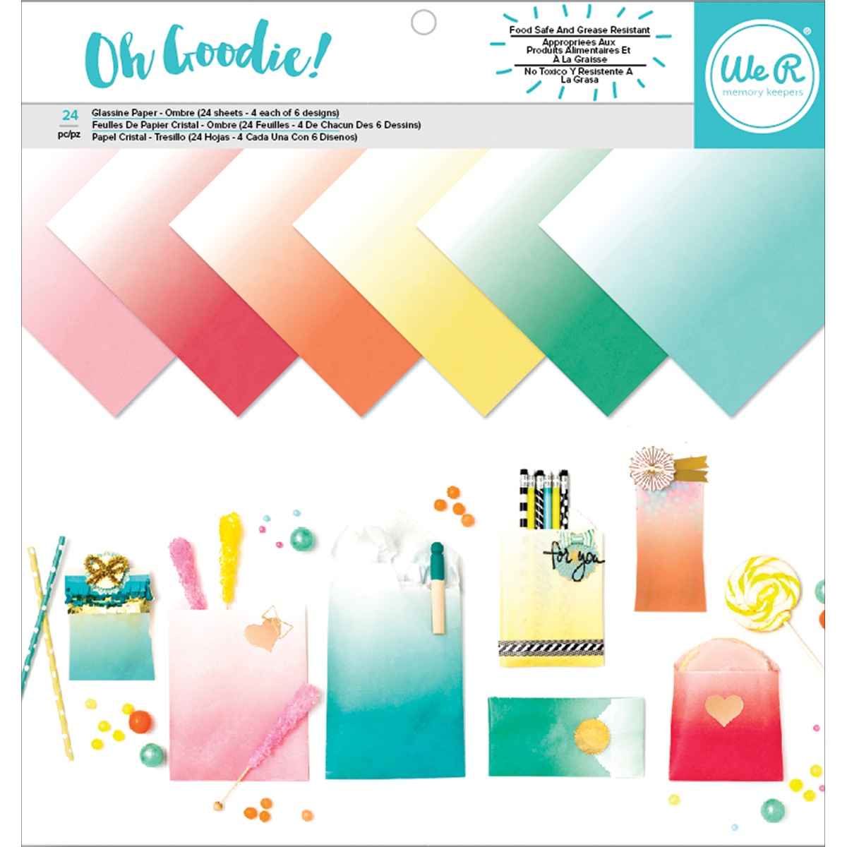"We R Memory Keepers Glassine Paper Pack, 12"" x 12"", 24pk, Oh Goodie! Ombre"