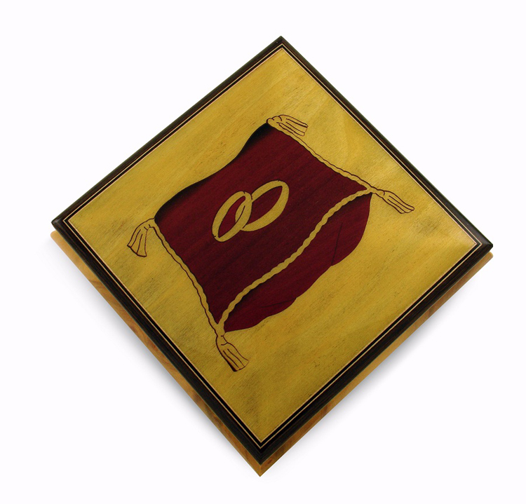 Astounding Wedding Rings on Ring Bearer Pillow Music Jewelry Box - I Dreamed A Dream