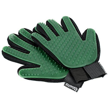 Bastex Pet Grooming Gloves in Green. Gentle Deshedding Brush Glove. Great for Cats and Dogs with long and short fur. Tool for removing pet hair off furniture and rubber tips for (Best Way To Get Dog Hair Off Comforter)