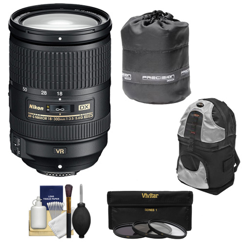 Nikon 18-300mm f/3.5-5.6G VR DX ED AF-S Nikkor-Zoom Lens + UV/ND8/CPL Filters + Backpack Kit for D3200, D3300, D5300, D5500, D7100, D7200 DSLR Camera