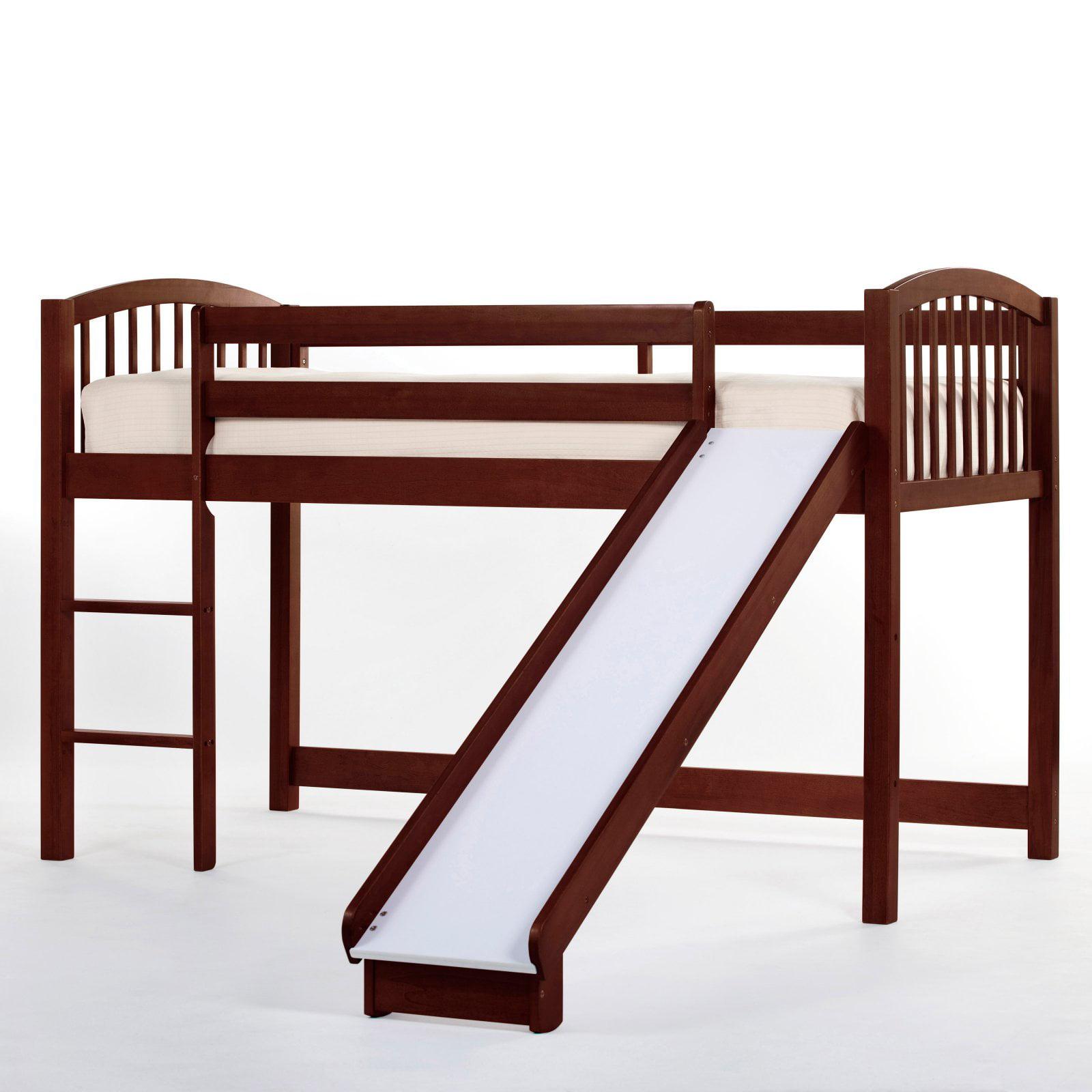 NE Kids Schoolhouse Junior Loft Bed with Slide - Cherry