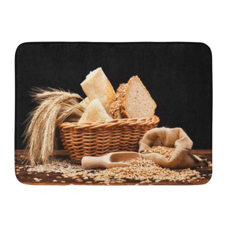 Mat Assortment (GODPOK Breakfast Brown Whole Assortment of Baked Bread on Wood Table and Black Grain Fiber Rug Doormat Bath Mat 23.6x15.7 inch)