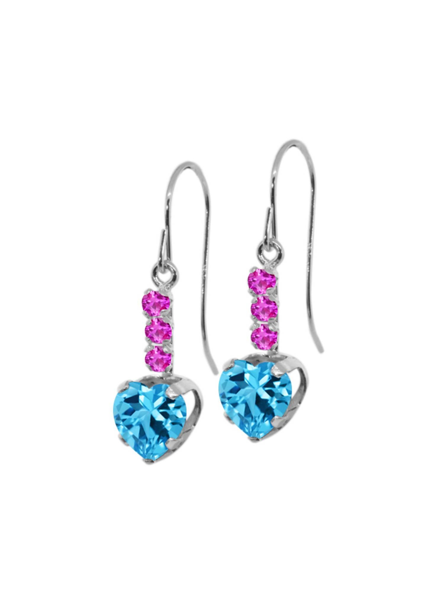 2.30 Ct Heart Shape Swiss Blue Topaz Pink Sapphire 14K White Gold Earrings by