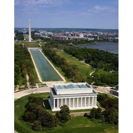 National Mall Lincoln Memorial and Washington Monument Washington DC Poster Print by Carol (Memorial Mall)