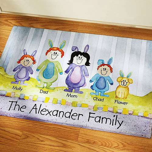 "Personalized Family of Characters Easter Doormat, 17"" x 27"""