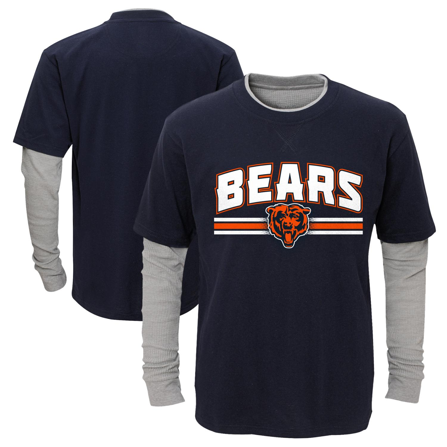 "Chicago Bears Youth NFL ""Bleachers"" L S Faux Layer Thermal Shirt by Outerstuff"