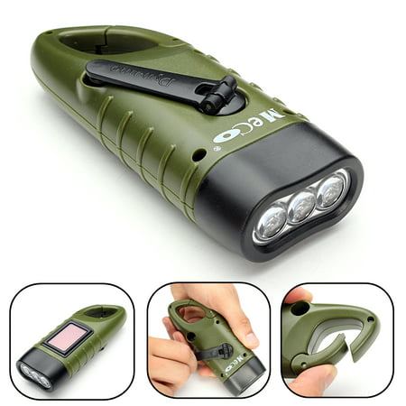 MECO Mini Solar Powered Hand Crank Flashlight Rechargeable LED Emergency Flashlight Cranking LED Camp Light with Clip For Emergency Hiking Camping Survival Gear