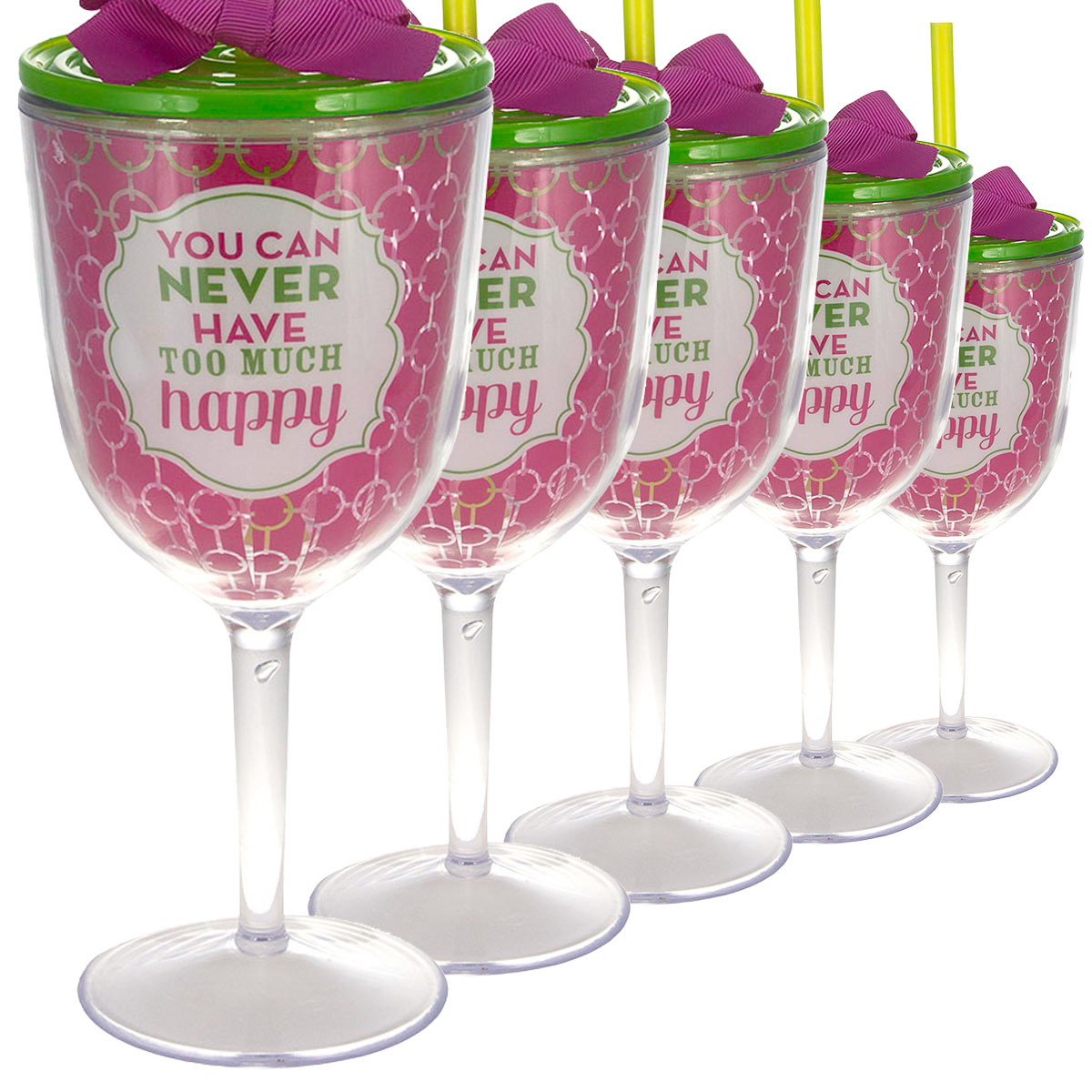 6ct Wine Glasses 13oz With Lid Straw Double Wall Insulated Funny Happiness Quote