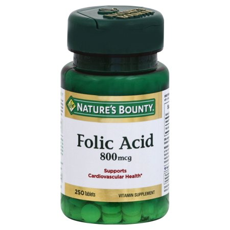 500 Mcg Folic Acid (Nature's Bounty, Folic Acid 500 Mcg Tablets, 250)