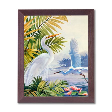 Egret Birds On Beach Tropical Lake Paradise Wall Picture Cherry Frame Art Print