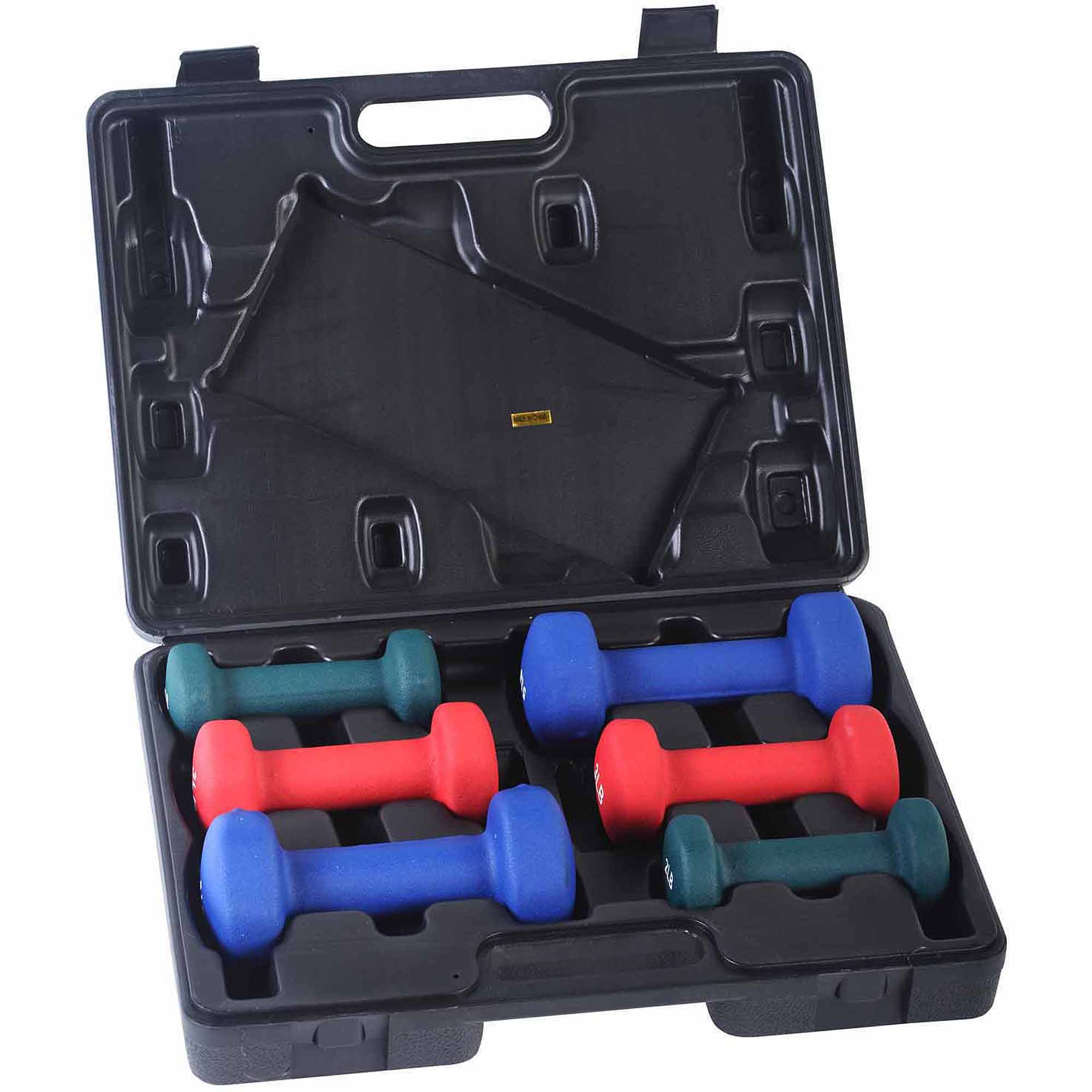 Sunny Health and Fitness 2/3/5 lb Neoprene Dumbbell Set with Case