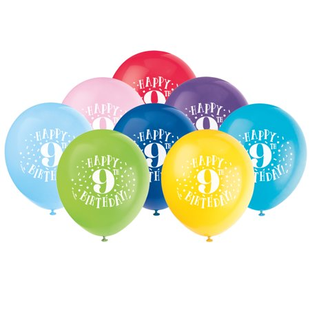 Latex Fun Happy 9th Birthday Balloons Assorted 12 In 8ct