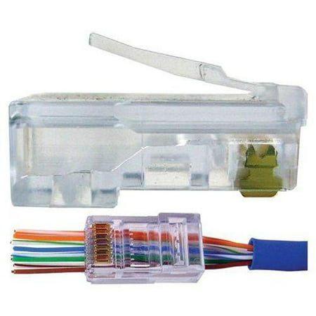100 Connectors - UbiGear 100 Pcs RJ45 Pass Through Network Cable Modular Plug CAT6 8P8C Connector End