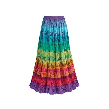 Women's Tiered Peasant Broomstick Skirt - Multi-Color Rainbow Print
