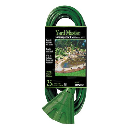 Woods 16/3 SJTW Outdoor Power Block Extension Cord, Green, 25-Foot