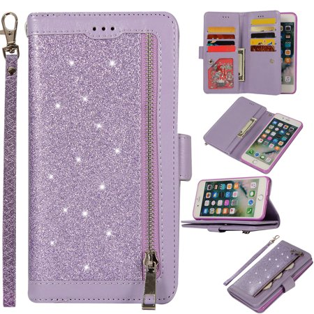 Zipper Wallet Case for iPhone 8 Plus iPhone 7 Plus 5.5-inch, Allytech Bling Glitter Leather Case with 9 Credit Card Holder Flip Magnetic Closure Stand Cover with Cash Pocket and Hand Strap, Purple (iphone 4 cases bling wallet)
