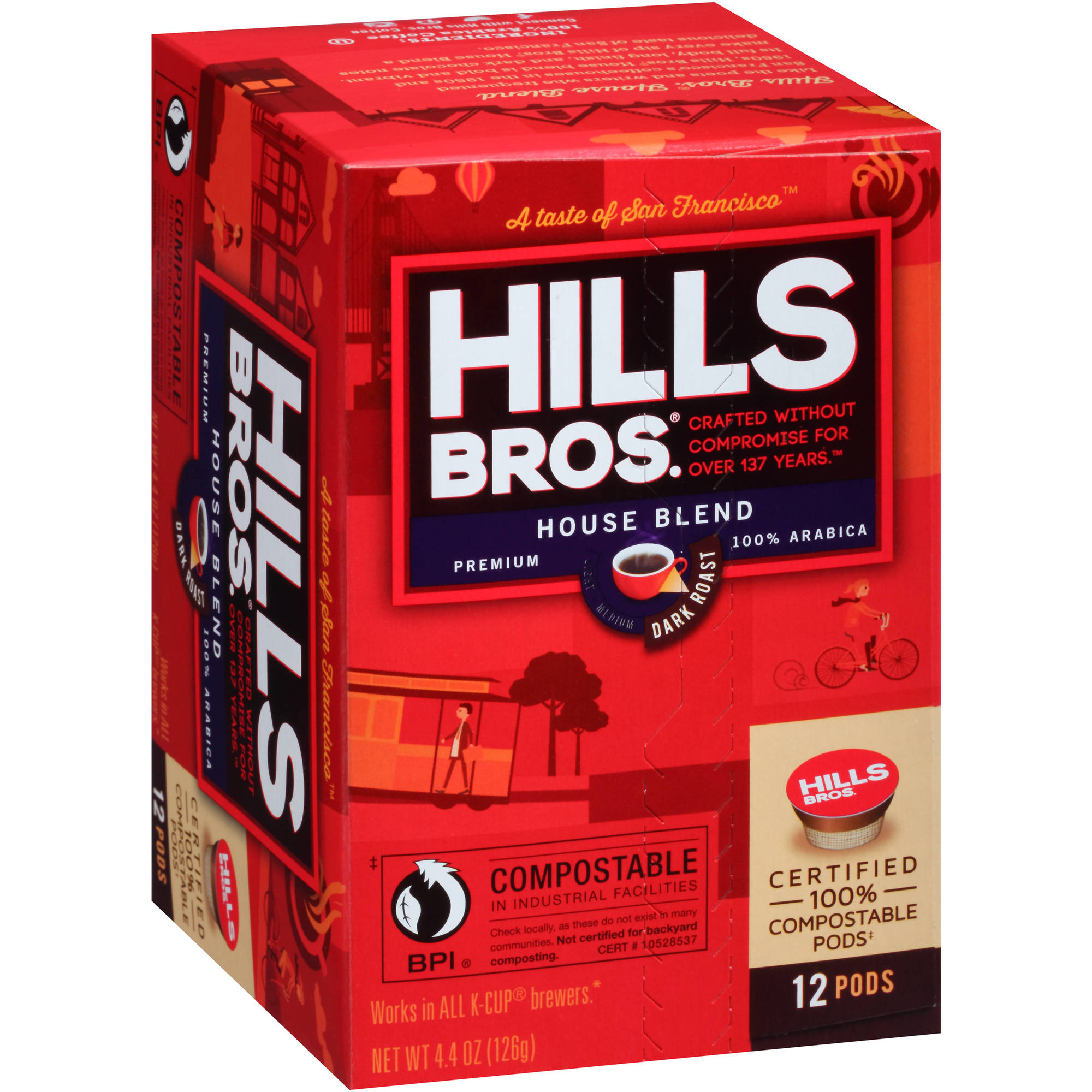 Hills Bros. House Blend Dark Roast Coffee Single Serve Cups, 12 count, 4.4 oz