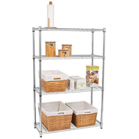 Chrome Steel Warming Rack - Zimtown 4 Layer Steel Rack Metal Shelf Adjustable Unit Garage Kitchen Storage Organizer Black/Chrome