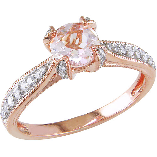 4/5 Carat T.G.W. Morganite and 1/5 Carat T.W. Diamond Rose Rhodium-Plated Sterling Silver Ring