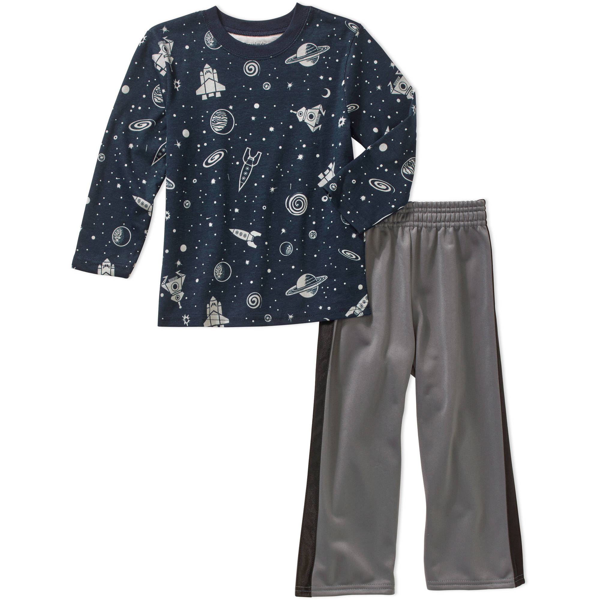 Garanimals Baby Toddler Boys' Long Sleeve Printed Tee and Tricot Pants 2-Piece Outfit Set