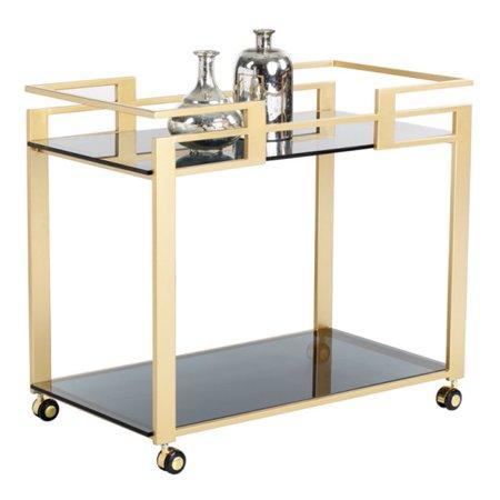 ARTeFAC - Glamorous Bar Cart With Matte Gold Steel Frame - image 2 de 2