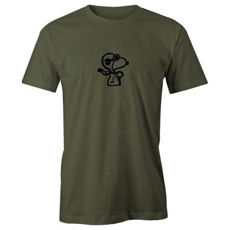 Ace Short Sleeve T-shirt - Grab A Smile Snoopy Flying Ace Adult Short Sleeve 100% Cotton T-Shirt