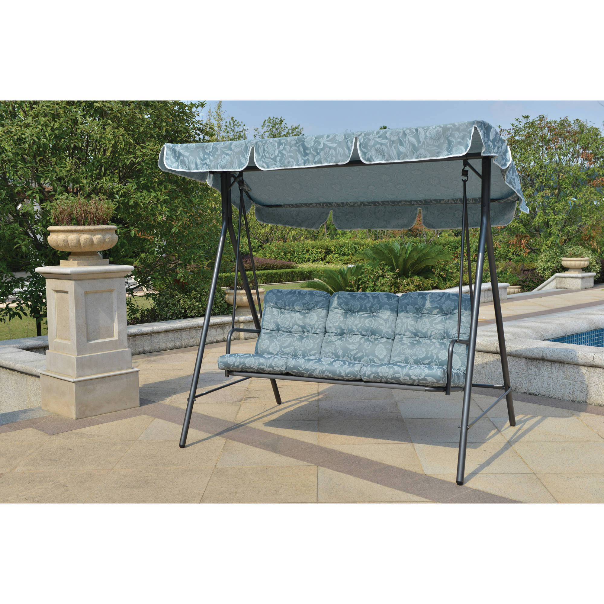Mainstays Willow Springs Outdoor Swing, Blue, Seats 3