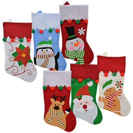 Set of 6 Pack: Felt Christmas Character Stockings with Pom-Pom Embellishments, 18 inch, 6 Pack: Felt Christmas Character Stockings with Pom-Pom Embellishments. By Christmas House From (Gingerbread House Stocking)