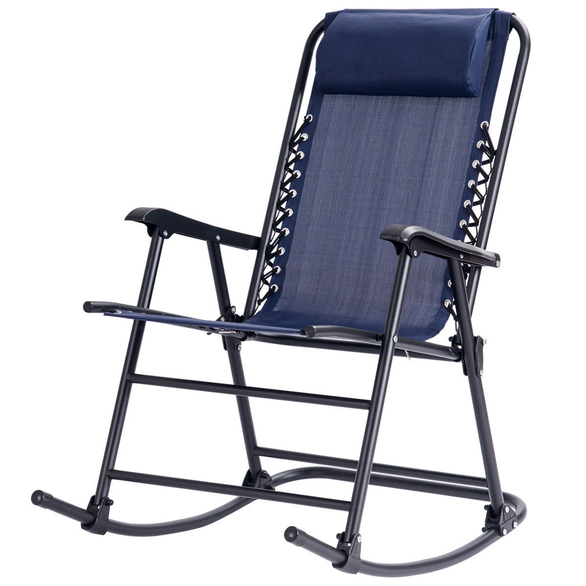 GHP Blue Folding Zero Gravity Porch Patio Indoor Rocking Chair with Pillow Headrest