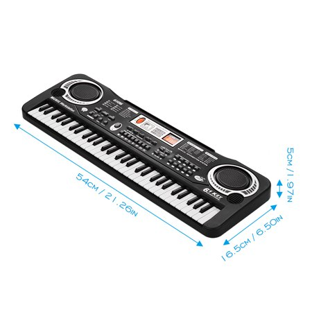 61 Keys Electronic Digital Piano Keyboard with Dual Speakers Microphone USB/Battery Powered + Tremolo Harmonica 16 Holes Kids Musical Instrument Educational Toy Wooden Cover Colorful Free Reed Wind In - image 2 of 7
