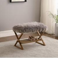 "17"" In Billie Gray Faux Fur Matte Gold Vanity Seating"
