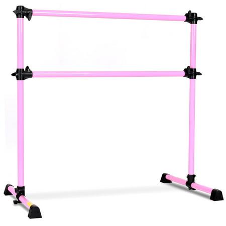 Costway 4' Portable Double Freestanding Ballet Barre Stretch Dance Bar Height Adjustable