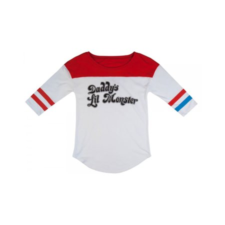 Suicide Squad Harley Quinn Daddy's Lil Monster Raglan Shirt, Small