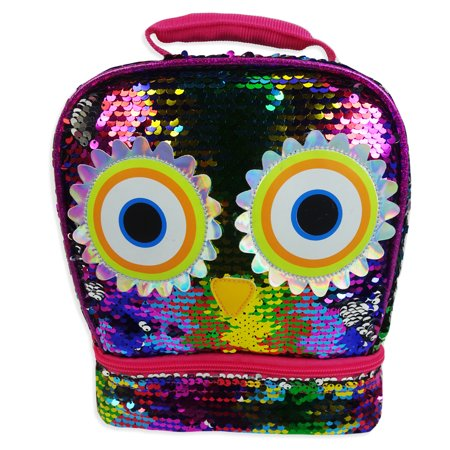 Fast Forward, LLC. 2-Way Sequin Owl Dual Compartment Lunch Bag