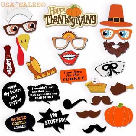 [USA-SALES] Thanksgiving Day Photo Booth Props, Happy Thanksgiving Photo Booth Props Decorations, Attached to the stick NO DIY REQUIRED, by USA-SALES Seller By UsaSales for $<!---->