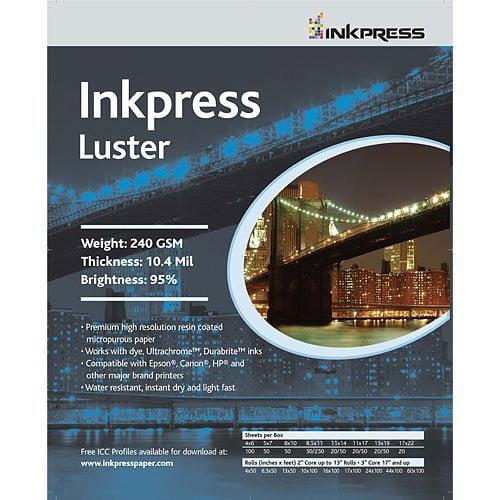 "Inkpress Luster, Single Sided Inkjet Paper, 240gsm, 10.4 mil., 5x7"", 50 Sheets"