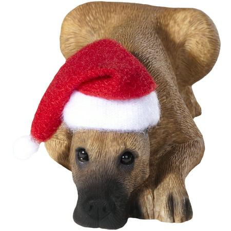 Sandicast Lying Fawn Great Dane with Santa's Hat Christmas Dog Ornament
