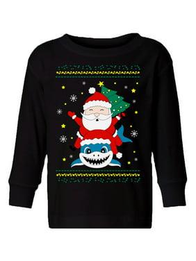 Awkward Styles Ugly Christmas Long Sleeve Shirt for Boys Girls Toddler Santa Xmas Shark Shirt