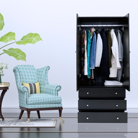 Kinbor Two Door Wardrobe Cabinet Armoire With Three Drawers And Hanging Rod Black