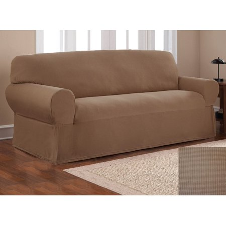 Fancy Linen Sure Fit Stretch Fabric Sofa Slipcover 2 Pc Solid Light Brown  New
