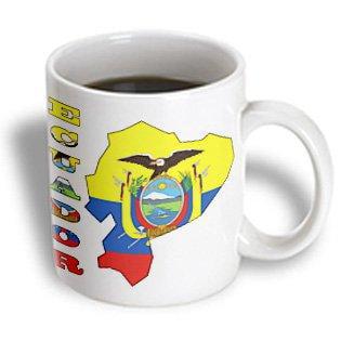 3dRose Ecuadorian flag in the map and letters of Ecuador, Ceramic Mug, 11-ounce