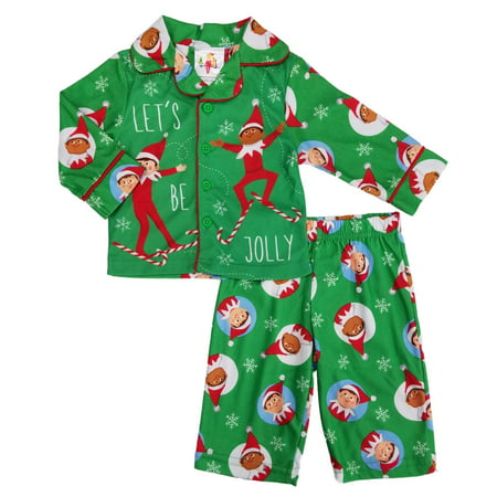 The Elf On The Shelf Infant & Toddler Boys 2-Piece Green Flannel Pajama Set](Elf On The Shelf Green)