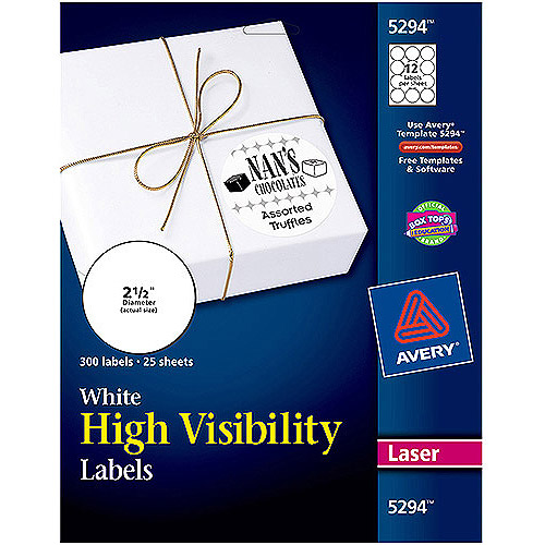 "Avery High-Visibility Round Laser Labels 5294, 2-1/2"", White, 300pk"