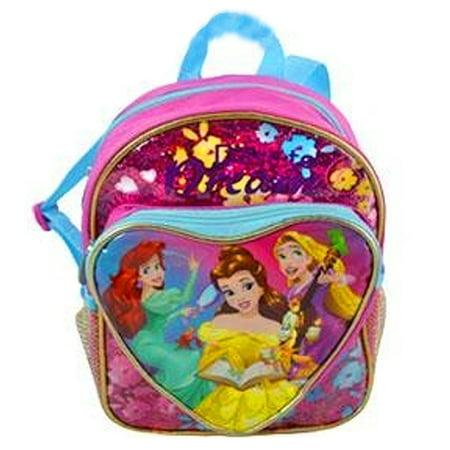 Disney Girls Backpack (Disney Princess Little Girls Multi Cartoon Heart Exterior Pocket Backpack)