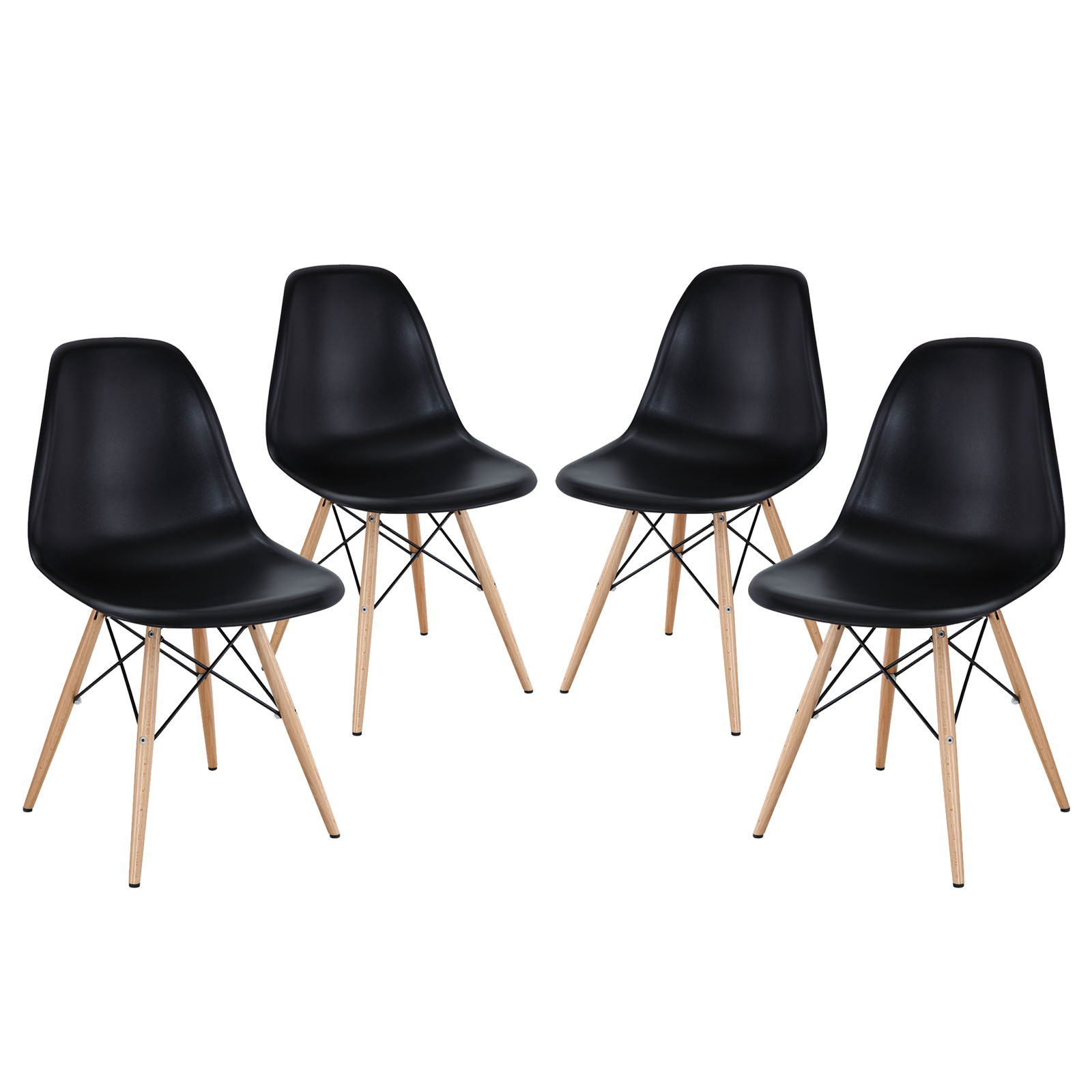 Modern Contemporary Kitchen Dining Side Chairs Set of Four Black