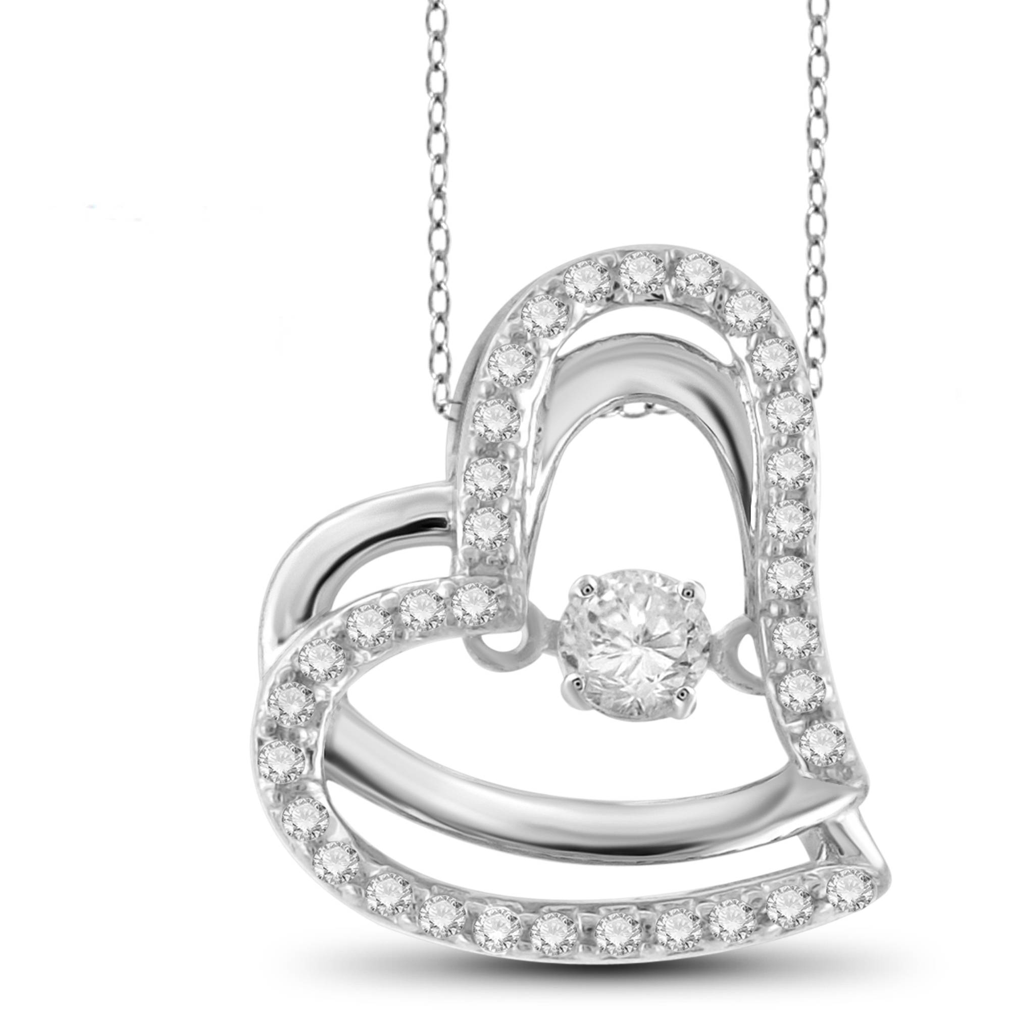 Diamonds in the Sky 1 4 Carat T.W. White Diamond 10kt White Gold Fancy Heart Pendant by Diamonds in the Sky